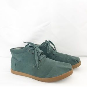 Tom's Deep Teal Suede High Tops Size 9.5